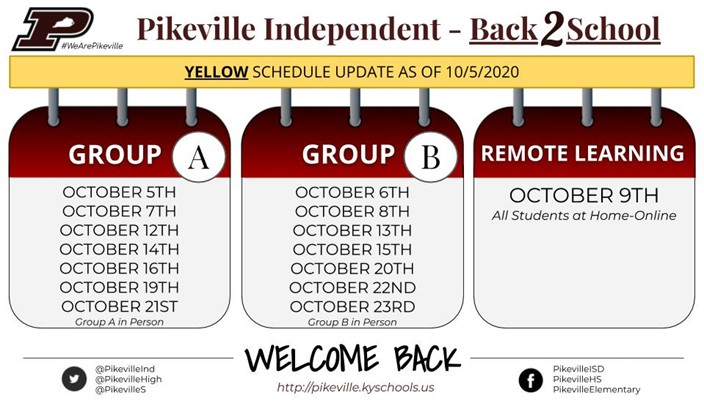 Yellow Schedule as of October 5th 2020